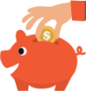 Image of hand dropping a coin inside piggy bank