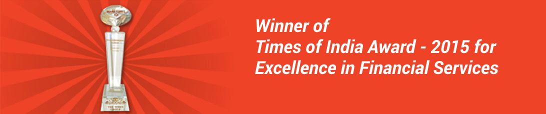 Image of trophy with red background and text – Winner of Times of India Award – 2015 for Excellence Financial Services