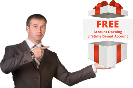 A man holding an opened gift box which shows Free Account Opening & Lifetime Demat Account